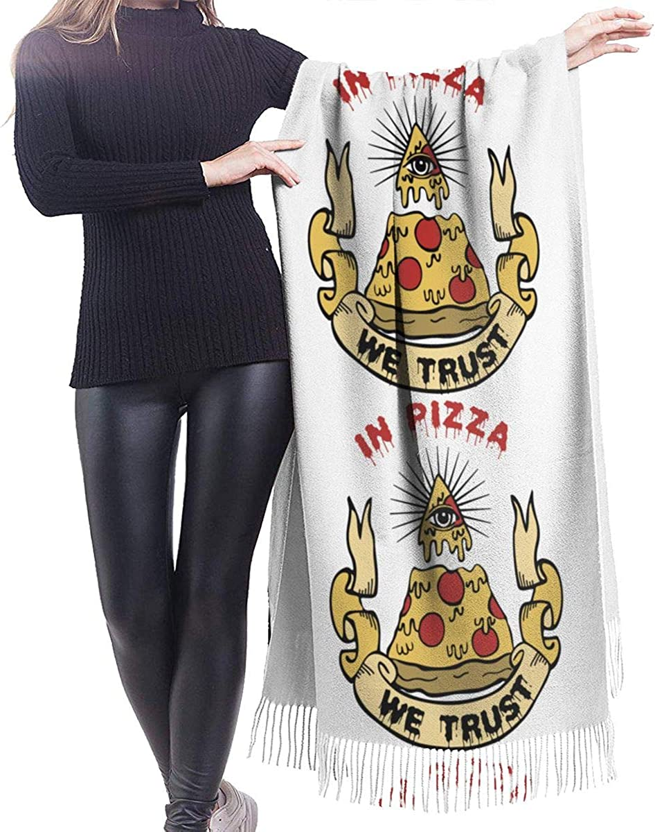 In Pizza We Trust Cashmere Shawl Wrap Scarf Large Warm Scarf For Women