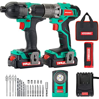 Cordless Drill Driver and Impact Driver 20V, HYCHIKADrill Combo Kit, 2x1.5Ah Batteries, 1H Fast Charging, 22PCS Accessories for Drilling Wood, Metal and Plastic
