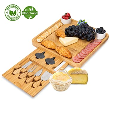 Bamboo Cheese Board with Cutlery Set-Charcuterie Cheese Plate Include 3 Ceramic Bowls with Marker Set by OasisCraft (Cheese Board)