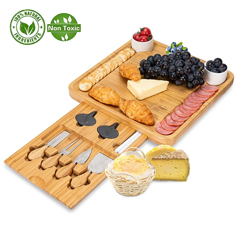 Bamboo Cheese Board with Cutlery Set-Charcuterie Cheese Plate Include 3 Ceramic Bowels with Marker Set by OasisCraft