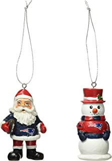 New England Patriots St Nick And Snowman 2 Pack Ornament Set