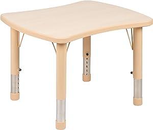 "Flash Furniture 21.875""W x 26.625""L Rectangular Natural Plastic Height Adjustable Activity Table"