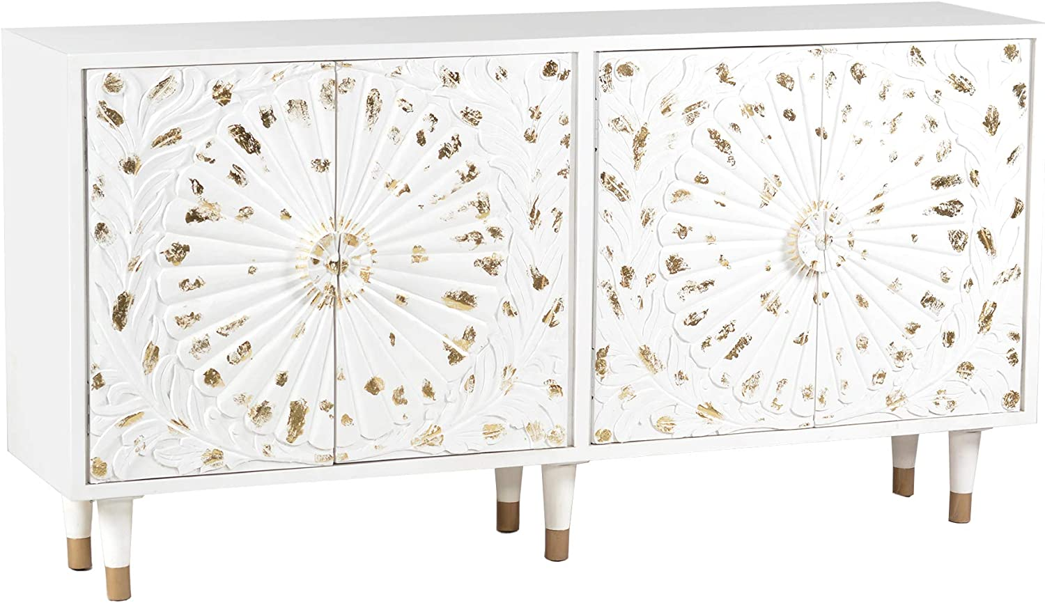 4 Door Wooden Sideboard with Engraved It is very popular Front Sunburst Design Ranking integrated 1st place Whi