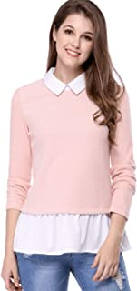 Women's Contrast Peter Pan Collar Ruffle Hem Pullover Knitted Knitwear Layered Tops