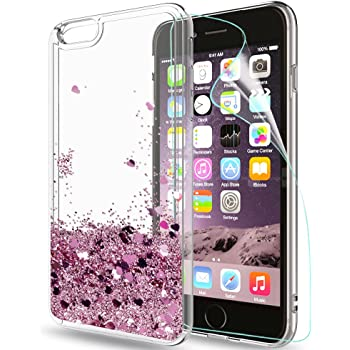 LeYi Hülle iPhone 6 Plus/iPhone 6S Plus Glitzer Handyhülle mit HD Folie Schutzfolie,Cover TPU Bumper Silikon Treibsand Clear Schutzhülle für Case iPhone 6 Plus Handy Hüllen ZX Rot Rosegold