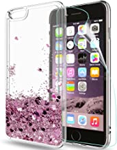 LeYi Custodia iPhone 6 / iPhone 6S Glitter Cover con HD Pellicola,Brillantini Trasparente Silicone Gel Liquido Sabbie Mobili Bumper TPU Case per Custodie Apple iPhone 6 Donna ZX Rosa Rose Gold