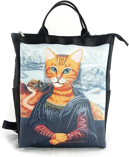 zeckos die meowna Lisa Portrait Of A Cat Cabrio Leinwand Rucksack