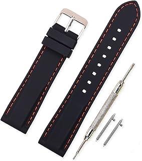 Vinband Correa Silicona Reloj Correa Suave Reemplazo de Banda de Acero Inoxidable Hebilla - 18, 20, 22, 24 mm Correas de Cuero para Reloj