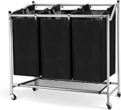 JEFEE Laundry Sorter Cart Laundry Sorter Divided Hamper with Heavy Duty Rolling Wheels, Heavy Duty 3 Bags Waterproof Laund...