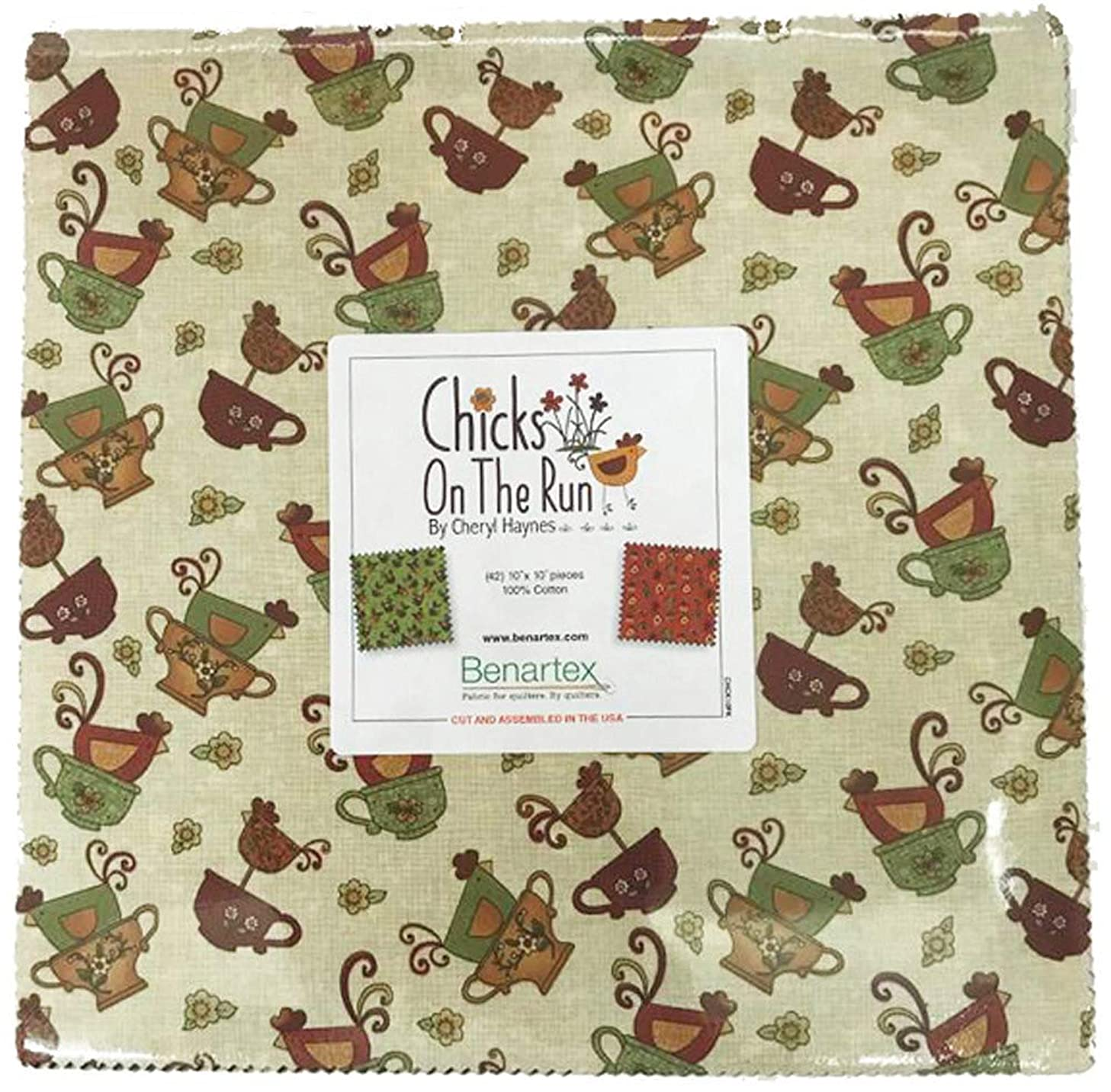 Cheryl Haynes Chicks on The Run 10X10 Pack 42 10-inch Squares Layer Cake Benartex, Assorted