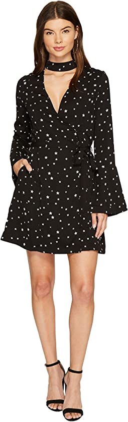 Star Choker Neck Wrap Dress