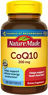 Nature Made CoQ10 200 mg Softgels, 105 Count for Heart Health and Cellular Energy production.† (Packaging May Vary)