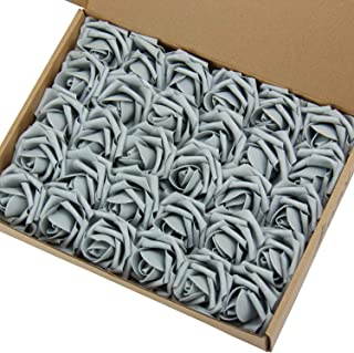 Marry Acting Artificial Flower Rose, 30pcs Real Touch Artificial Roses for DIY Bouquets Wedding Party Baby Shower Home Decor (Gray)