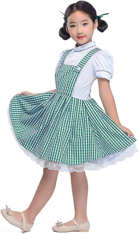 Girls Vintage 1950s Gingham Dress Little Cutie Jumper Look Short Sleeve Checkered Dress