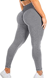 REYTID Anti Cellulite Peach Leggings for Women High Waist Honeycomb Lifting Leggings Workout Textured Scrunch Yoga Pants