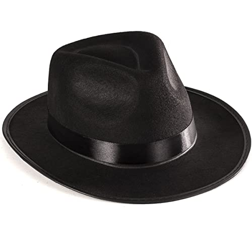 ac81a56a70dfb Funny Party Hats Black Gangster Hat - Black Fedora Hats - Costume Hats -  Costume Accessories