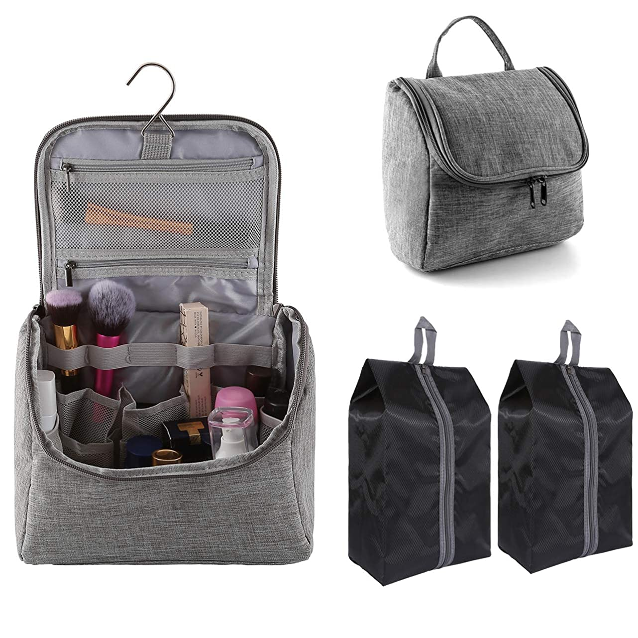 Hanging Toiletry Bag with 2 Pcs Shoe Bags, CozyCabin Waterproof Travel Cosmetic Bag, Organizer for Travel Accessories, Shower Bag for Men & Women with Mesh Pocket & Metal Hook (Grey) run016173740401