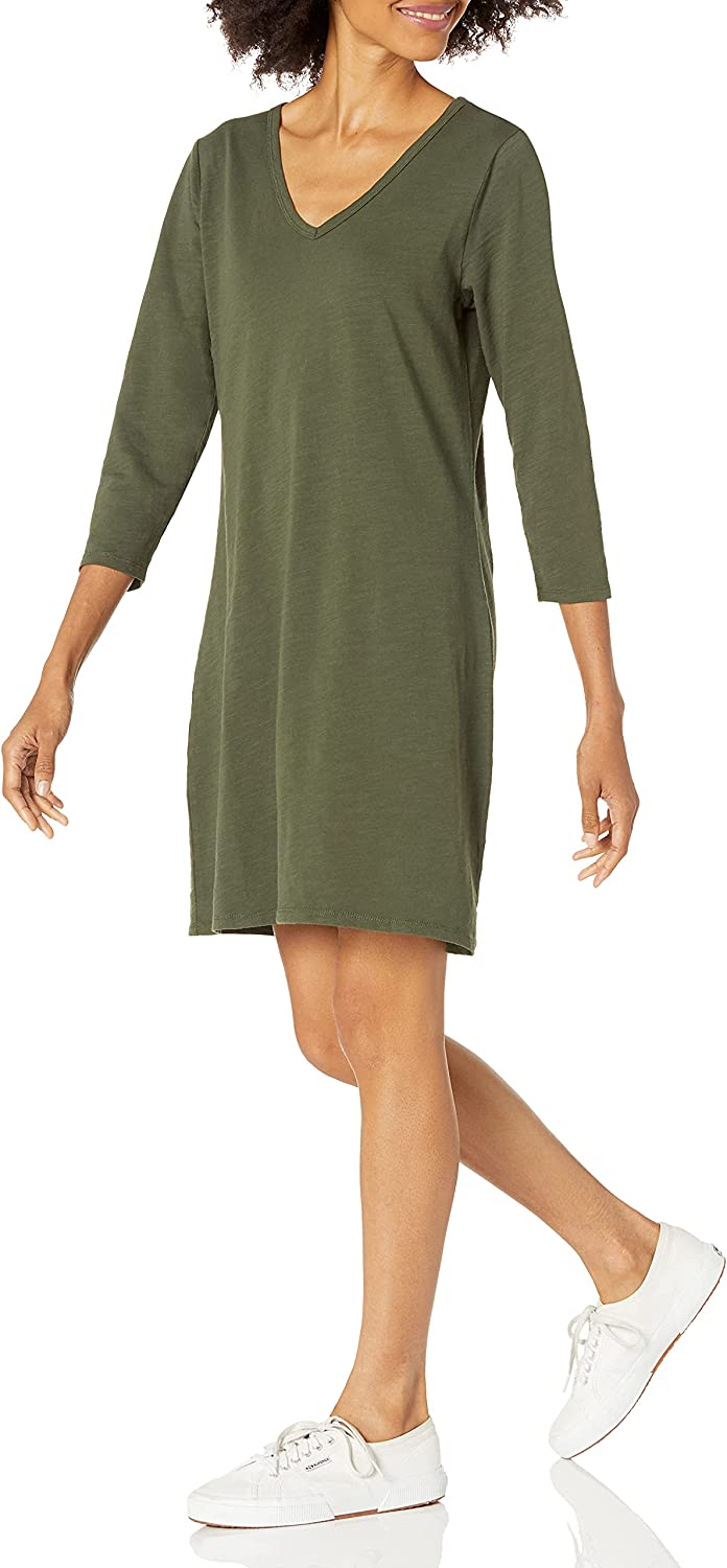 Amazon Brand - Daily Ritual Women's Lived-in Cotton 3/4-sleeve V-Neck Dress