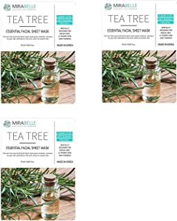 MIRABELLE COSMETICS KOREA Fairness Facial Mask TEA TREE PACK OF 3 MADE IN KOREA SUITABLE FOR ALL SKIN TYPE