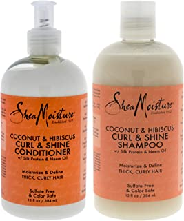 Shea Moisture Coconut, Hibiscus Curl And Shine Duo Shampoo And Conditioner For Unisex, 13 Oz.