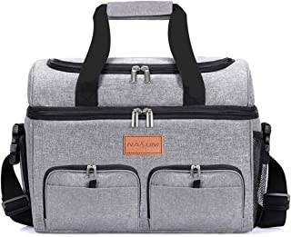 Collapsible Cooler Bag NASUM 23L (32-Can) Insulated Leakproof Soft Cooler Portable Double Decker Cooler Tote for, Travel, Beach, Picnic, Sports, Camping, BBQ Party, Outdoor, Grey