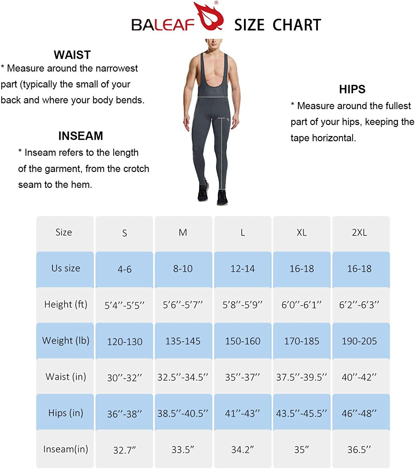 BALEAF Mens 3D Padded Thermal Cycling Bib Long Pants Winter Bike Tights Cold Weather Leggings
