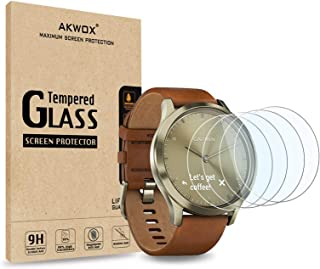 [4-Pack] Tempered Glass Screen Protector for Garmin Vivomove HR, AKWOX [0.3mm 2.5D High Definition 9H] Premium Clear Scree...