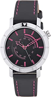 Fastrack Women's Black Dial Leather Band Watch - 6112SL03