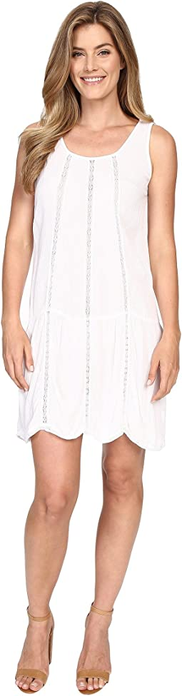Seamed Tank Dress w/ Lace Trim