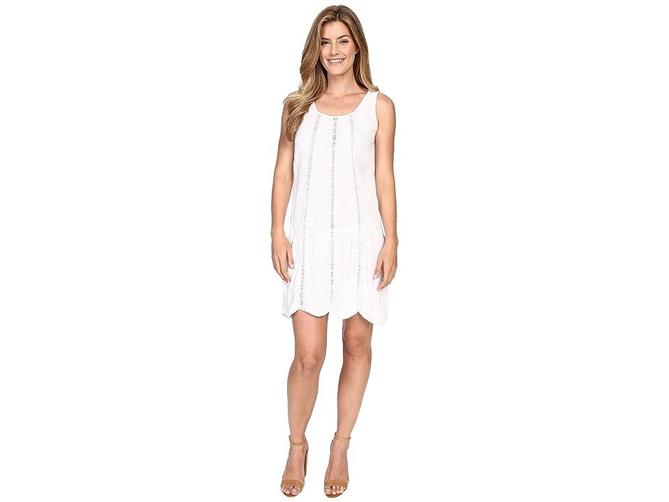 Allen Allen Seamed Tank Dress w/ Lace Trim (White) Women