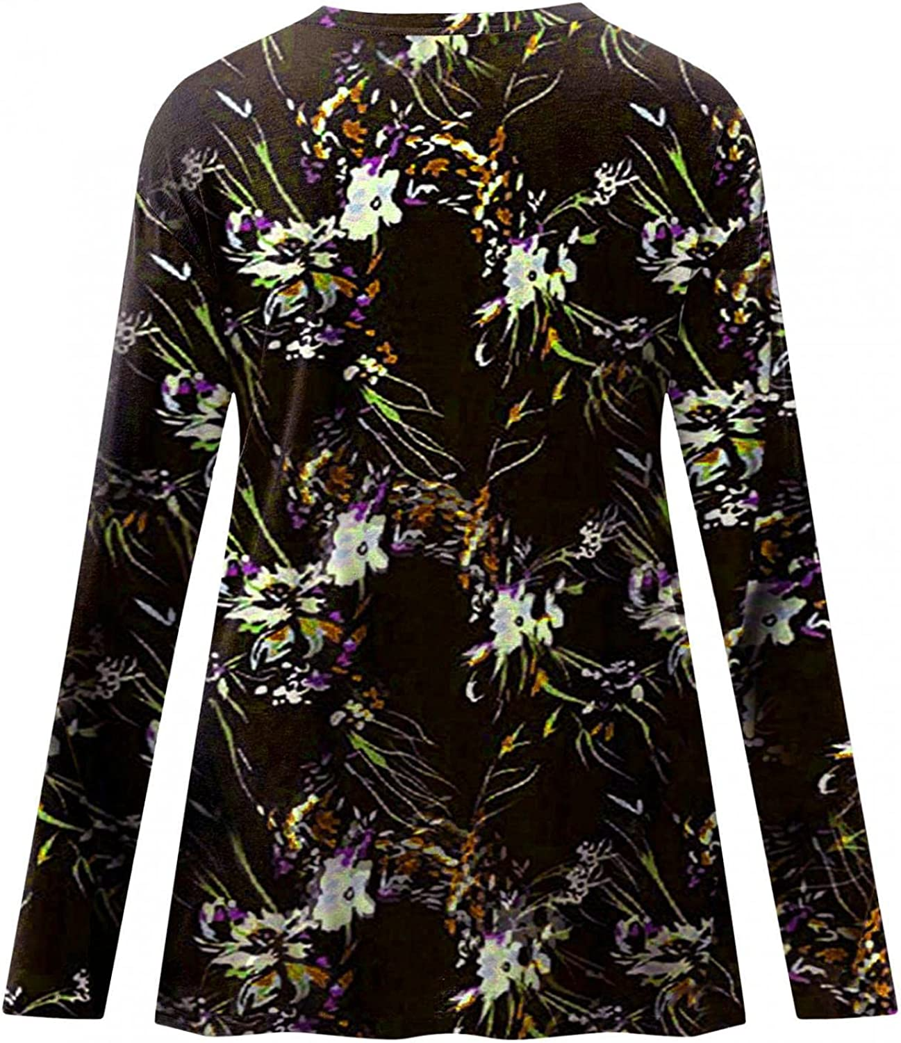 FABIURT Long Sleeve Shirts Women Casual, V Neck Gradient Printed Trendy Tunic Pullover Tie Dye Workout Loose Tops Blouse