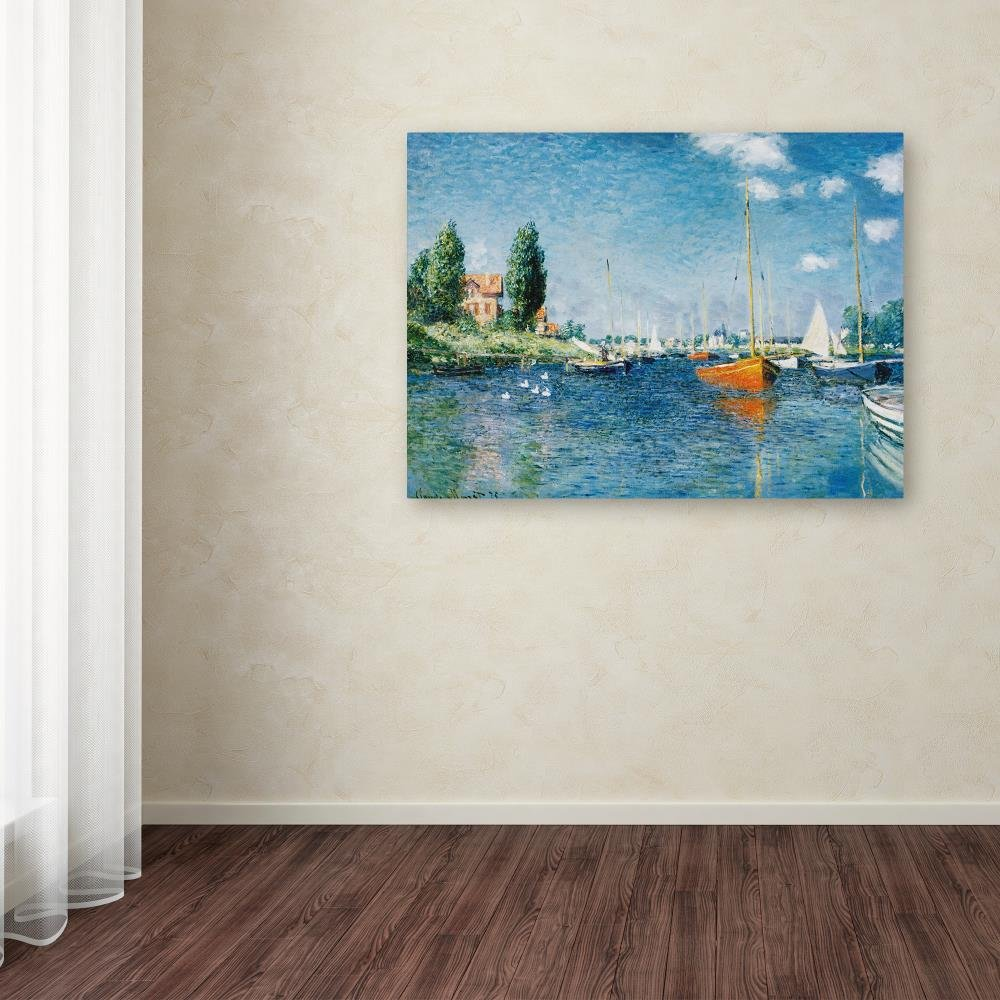 Red Boats at Argenteuil by Claude Monet, 24x32-Inch Canvas Wall Art