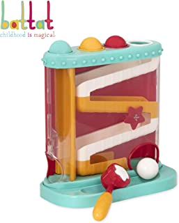 Battat – Pound & Roll – Baby Activity Toy Station with 1 Toy Hammer & 4 Balls for Kids 12 Months + (7-Pcs)