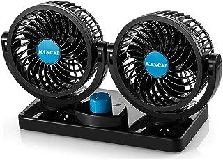 12 V, ventilador de veh/ículo potente, silencioso, 2/velocidades, giro de 360/grados, ajustable, el/éctrico Ventilador Bestland de cabezales dobles para el coche