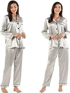 Silk Pajamas for Women Long Sleeve 2-Piece Button-Down Womens Pajama Sets ladies Pajamas Sets on Sale