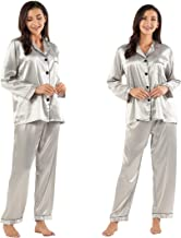 GAESHOW Women's Satin Silk Pajamas Set Long Sleeve Button-Down Pj Set Sleepwear Nightwear Loungewear Two Piece Pj Sets