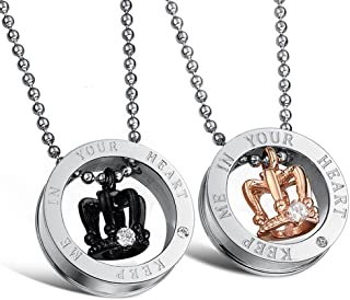 Fate Love Couples Necklace His Queen and Hers King Stainless Steel Crown Pendant Necklace for Men Women, 20-22 Inches Link Chain