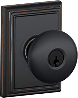 Schlage F51A Plymouth With Addison Rose Keyed Entry Lock C Keyway with 16211 Latch 10063 Strike Aged Bronze Finish