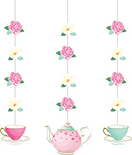 Floral Tea Party Hanging Decorations, 3 ct