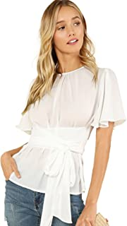 Women's Self Tie Wist Short Sleeve Casual Chiffon Blouse Tops
