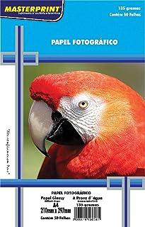 Masterprint 302010056, Papel Fotográfico, Inkjet, A4, Glossy, 135 g, Multicor, Pacote de 50