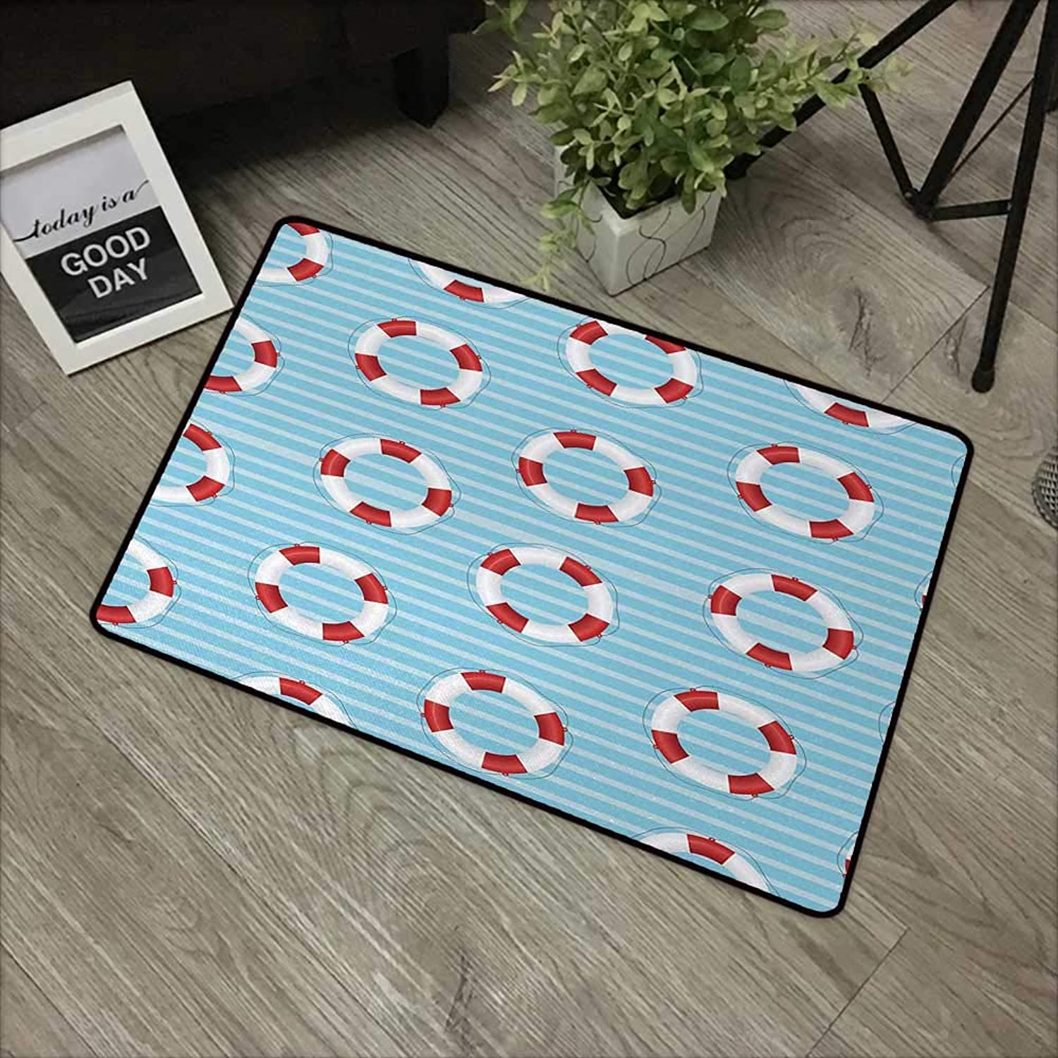 Learning pad W35 x L59 INCH Buoy,Life Preserver Crisis Security Lifejacket Lifeguard Danger Predection Symbols,Baby bluee Red White Easy to Clean, no Deformation, no Fading Non-Slip Door Mat Carpet