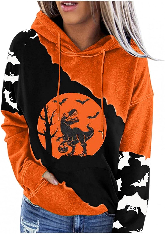 Women's Halloween Pumpkin Bat Print Long Sleeve O-Neck Fall Funny Loose Shirt