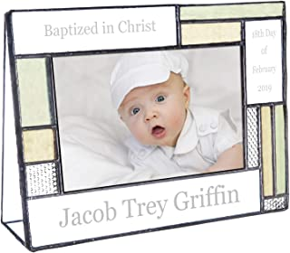 Baptism Gifts for Girls Or Boys Personalized Picture Frame Custom Engraved Glass 4x6 Horizontal Photo Green and Antique Yellow J Devlin Pic 430-46H EP617