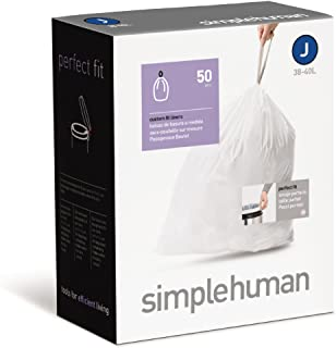 simplehuman Custom Fit Trash Can Liner J 30-40 L / 10-10.5 Gal 50-Count Box