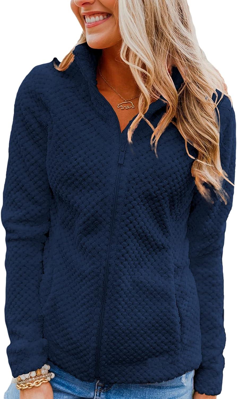 Grlasen Women Fashion Casual Sherpa Jacket Zip Up Long Sleeve Hoodie Cardigan Coat Solid Activewear Jacket