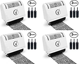 Vantamo Identity Theft Protection Roller Stamp Wide Kit, 4 Complete Sets, All Including 3-Pack Refills - Secure Confidential ID Blackout Security Design, Anti Theft and Privacy Safety - Classy White