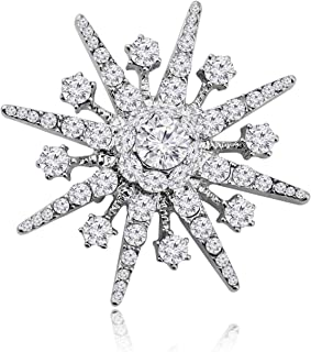 دبوس شورو الفضة ندفة الثلج بروش حجر الراين دبوس بروش كريستال ندفة الثلج مجوهرات ودبابيس زينة لإشبينة العروس مجوهرات الزفاف