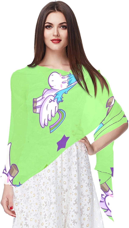 Cartoon Pegasus Stars Green Pattern Women Soft Chiffon Pashmina Shawl Wrap Scarf for Bridesmaid Wedding Formal Party Evening Dress