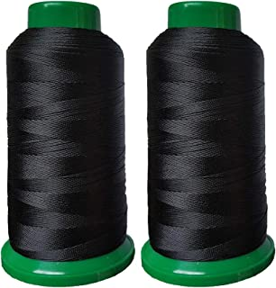 Polyester Thread Heavy Duty Bonded UV Resistant High Strength Outdoor Thread #69 T70 Size 210D/3Ply for Upholstery, Outdoor Market, Drapery, Leather, Beading, Crafts, 3000Yards Pack of 2 (Black)